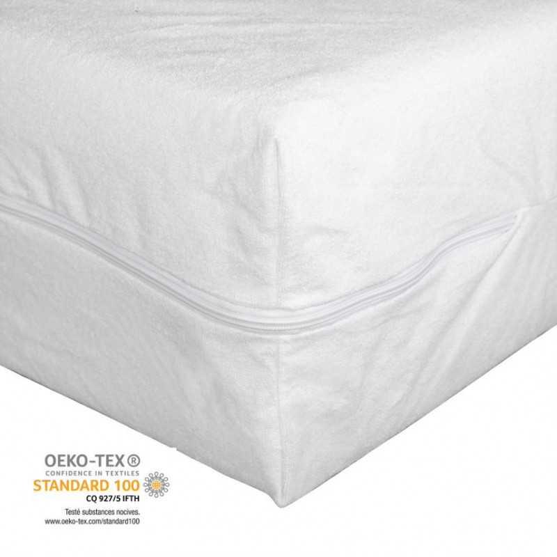 Housse de matelas imperméable et lavable avec fermeture éclair- produit certifié Oeko-Tex®