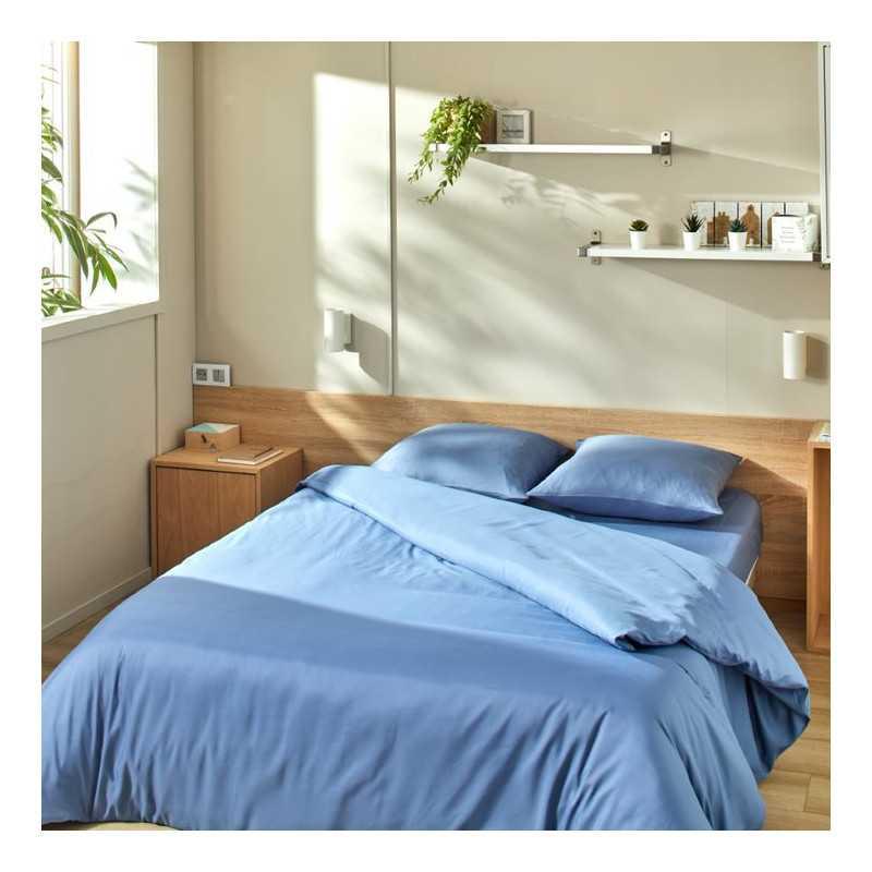 Kit de couchage housse de couette bleu lavable Easytex