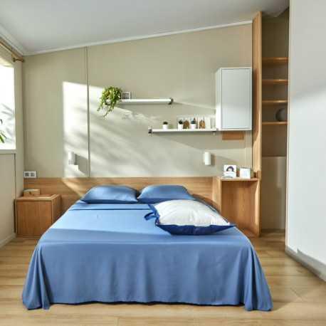 Kit de couchage drap plat lavable bleu Easytex