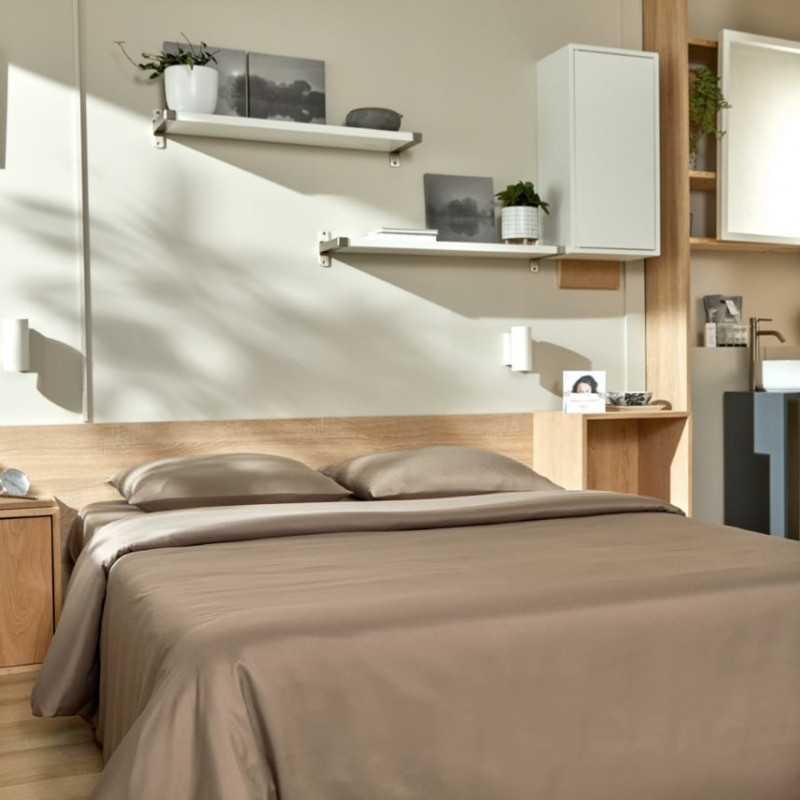 Parure de lit housse de couette lavable taupe gamme éco lavable Easytex