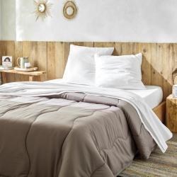 Kit de couchage drap plat jetable Nature avec couette confort taupe Easytex