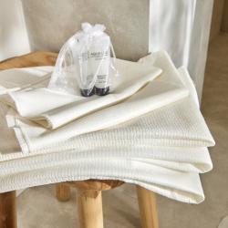 Serviette de toilette et drap de bain jetables Nature Plus biodégradables Easytex - effet gaufré