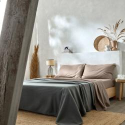 Ambiance linge de lit polycoton lavable taupe Easytex et couverture polaire grise anthracite