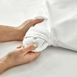 Zoom passe main housse de couette lavable polycoton blanche Easytex