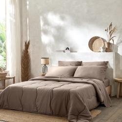Ambiance complète linge de lit lavable polycoton taupe avec couette confort taupe