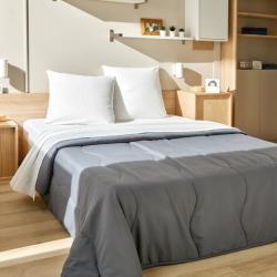 Kit de couchage jetable drap plat confort avec couette confort grise Easytex