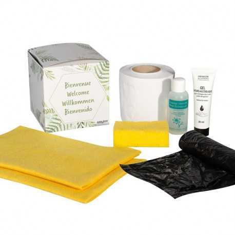 Kit accueil ménage Easytex avec tube de gel hydroalcoolique